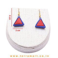Navy Blue & Red Colour Combinated Grand Necklace Set & Hook Earring - Terramart Jewellery