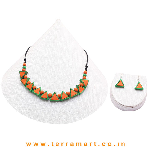 Orange & Parrot Green Colour Combinated Grand Necklace Set & Hook Earring - Terramart Jewellery