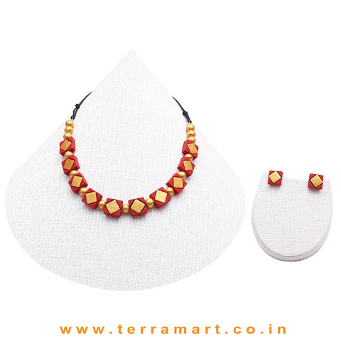 Red & Gold Colour Combinated Grand Necklace Set & Studded Earring