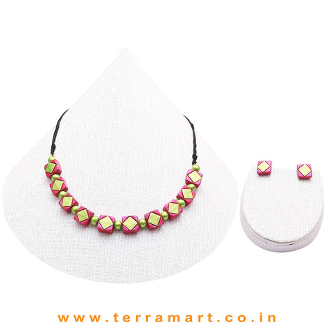 Shiny Pain & Shiny Green Colour Combinated Grand Necklace Set & Studded Earring - Terramart Jewellery