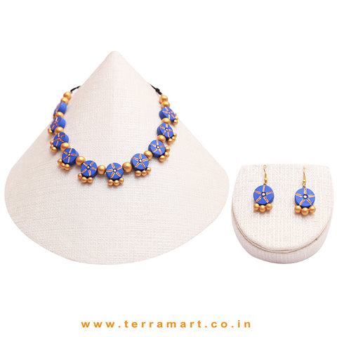 Blue & Gold Colour Combinated Grand Necklace Set & Hook Earring - Terramart Jewellery