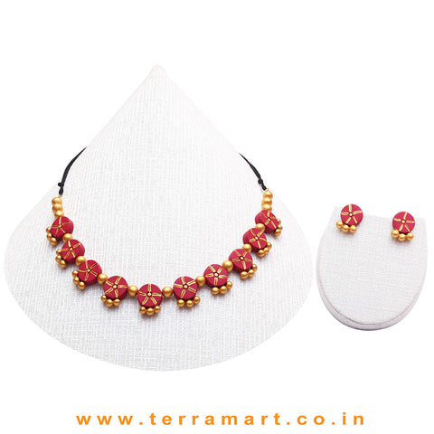 Maroon & Gold Colour Combinated Grand Necklace Set & Hook Earring - Terramart Jewellery
