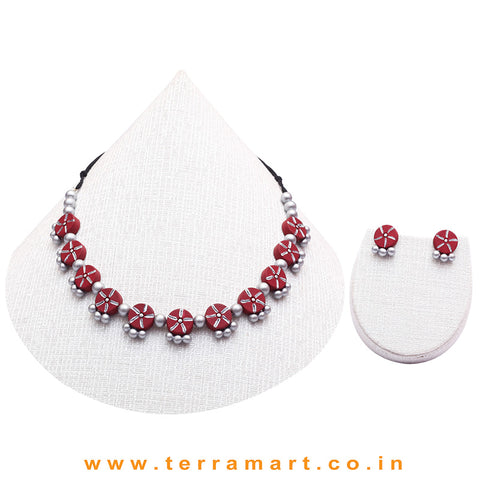Sky Blue & Silver Colour Combinated Grand Necklace Set & Hook Earring  - Terramart Jewellery