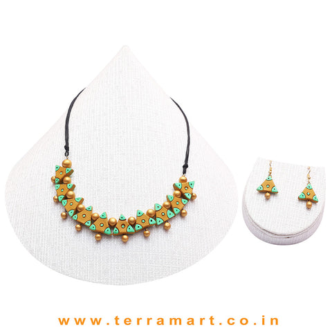 Mustard, Parrot Green & Gold Colour Combinated Grand Necklace Set & Hook Earring
