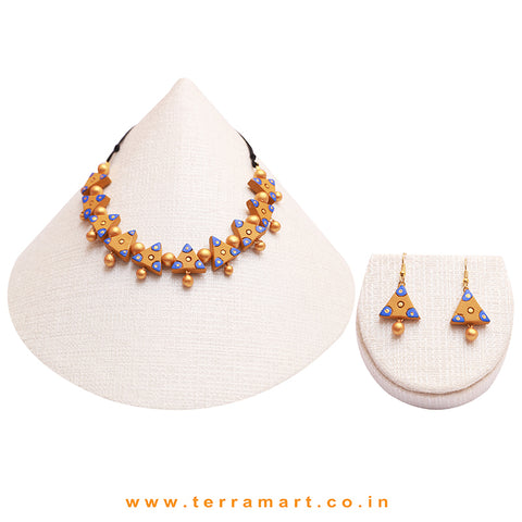 Mustard, Blue & Gold Colour Combinated Grand Necklace Set & Hook Earring - Terramart Jewellery