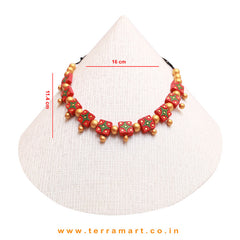 Red, Green & Gold Colour Combinated Grand Necklace Set & Hook Earring - Terramart Jewellery