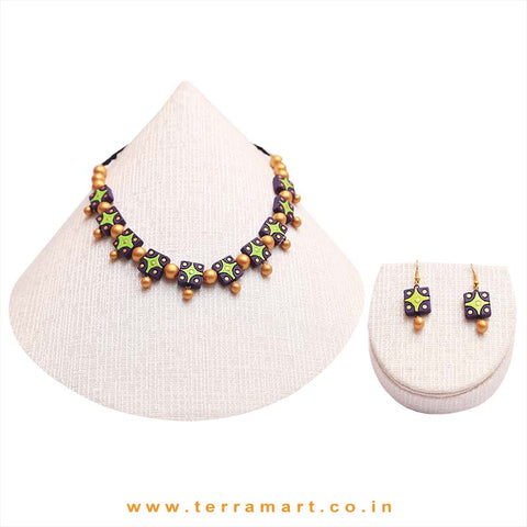 Lavender, Parrot Green & Gold Colour Combinated Grand Necklace Set & Hook Earring - Terramart Jewellery