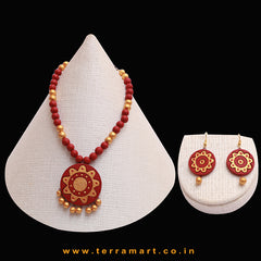 Maroon & Gold Colour Combinated Grand Chain Set & Hook Earring - Terramart Jewellery