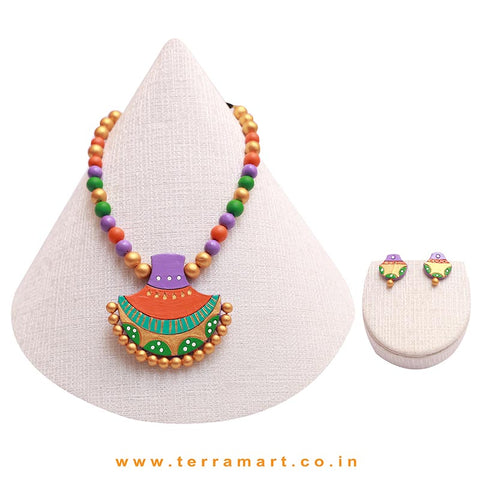 Lavender, Orange, Blue & Gold Colour Combinated Beautiful Grand Chain Set & Studded Earring - Terramart Jewellery