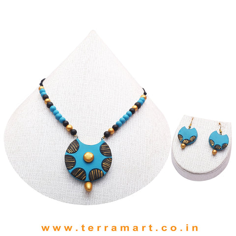 Sky Blue, Black & Gold Colour Combinated Grand Chain Set & Hook Earring - Terramart Jewellery