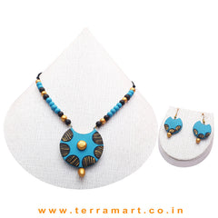 Sky Blue, Black & Gold Colour Combinated Grand Chain Set & Hook Earring