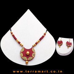 Maroon, Black & Gold Colour Combinated Grand Chain Set & Hook Earring - Terramart Jewellery
