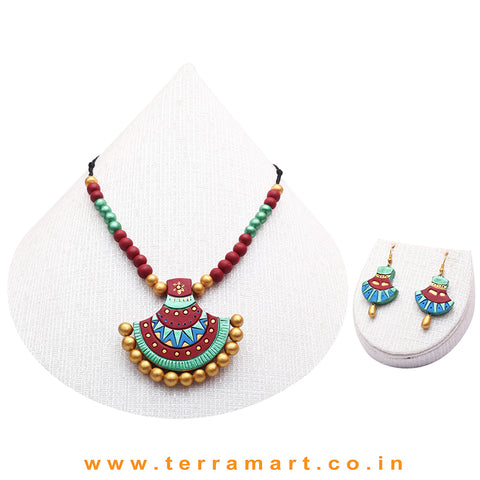 Shiny Green, Blue, Maroon & Gold Colour Combinated Beautiful Grand Chain Set & Hook Earring - Terramart Jewellery