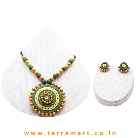 Sap Green & Gold Colour Combinated Grand Chain Set & Stud Earring - Terramart Jewellery