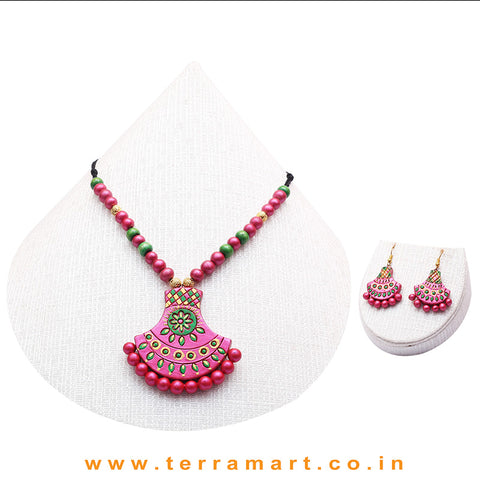 Shiny Green, Shiny Pink & Gold Colour Combinated Grand Chain Set & Hook Earring