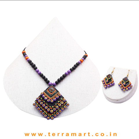 Black, Orange, Lavender, Yellow & Gold Colour Combinated Grand Diamond Shape Layer Chain Set & Hook Earring - Terramart Jewellery