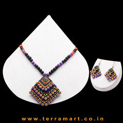 Black, Orange, Lavender, Yellow & Gold Colour Combinated Grand Diamond Shape Layer Chain Set & Hook Earring