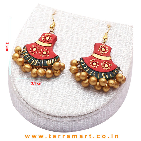 Red, Dark Green & Gold Colour Combinated Grand Chain Set & Hook Earring - Terramart Jewellery