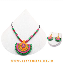 Mango Yellow, Shiny Pink, Green & Gold Colour Combinated Grand Chain Set &  Stud Earring - Terramart Jewellery