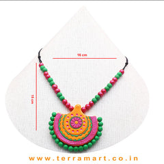 Mango Yellow, Shiny Pink, Green & Gold Colour Combinated Grand Chain Set & Hook Earring