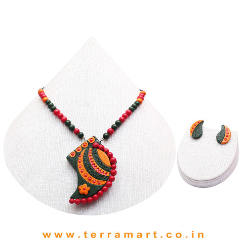 Dark Green, Orange, Red & Gold Colour Combinated Grand Mango Design Chain Set & Studded Earring