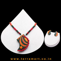 Dark Green, Orange, Red & Gold Colour Combinated Grand Mango Design Chain Set & Studded Earring - Terramart Jewellery