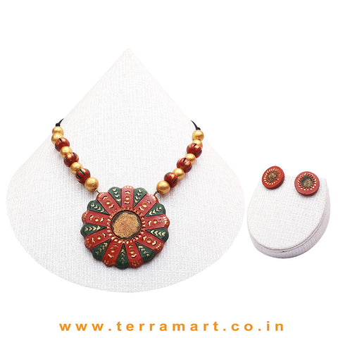 Red, Dark Green & Gold Colour Combinated Grand Chain Set & Stud Earring - Terramart Jewellery