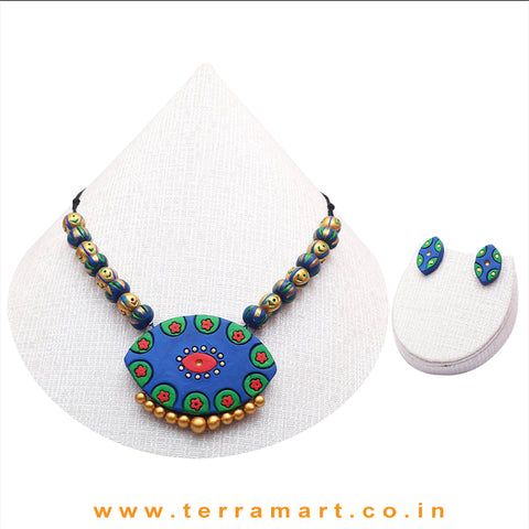 Blue, Red, Green & Gold Colour Combinated Grand Chain Set & Stud Earring