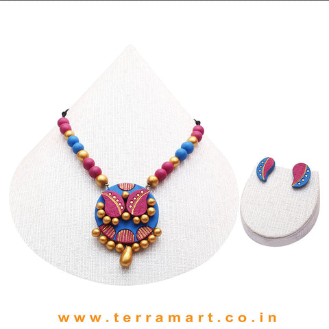 Blue, Pink & Gold Colour Combinated Grand Chain Set & Stud Mango Design Earring - Terramart Jewellery