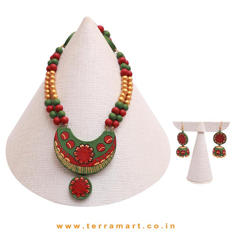 Sap Green, Maroon & Gold Colour Combinated Grand Chain Set & Hook Jumka - Terramart Jewellery