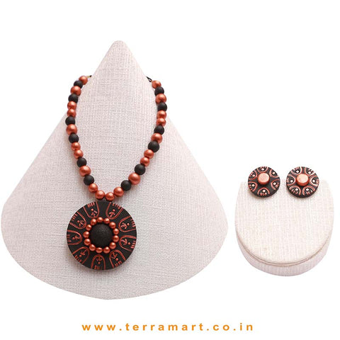 Black & Copper Colour Combinated Grand Chain Set & Stud Earring