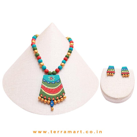 Sky Blue, Sap Green, Red & Gold Colour Combinated Grand Chain Set & Stud Earring