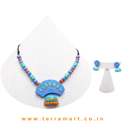 Shiny Blue, Blue & Orange Colour Combinated Grand Chain Set & Studded Jumka - Terramart Jewellery