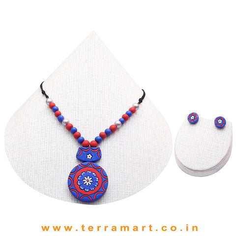 Blue, Red & Silver Colour Combinated Grand Chain Set & Stud Earring
