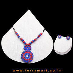 Blue, Red & Silver Colour Combinated Grand Chain Set & Stud Earring - Terramart Jewellery
