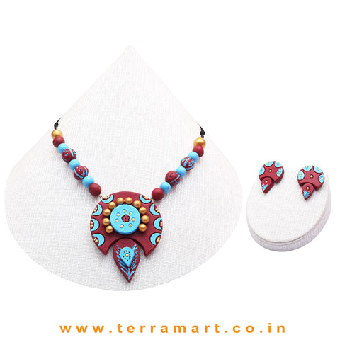 Sky Blue, Maroon & Gold Colour Combinated Grand Chain Set & Stud Earring - Terramart Jewellery