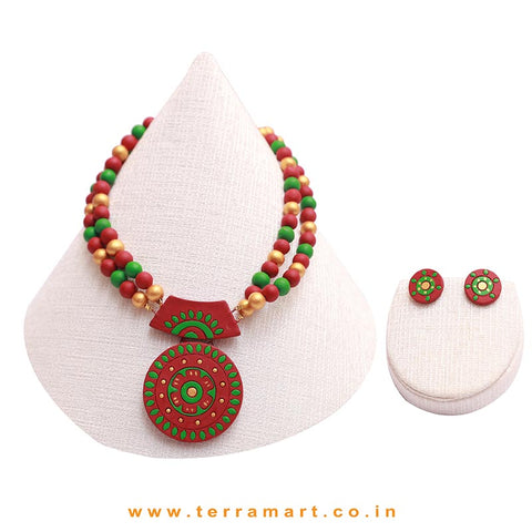 Green, Maroon & Gold Colour Combinated Grand Chain Set & Stud Earring - Terramart Jewellery