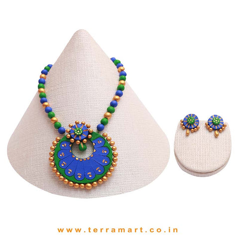 Green, Blue & Gold Colour Combinated Grand Chain Set & Stud Earring