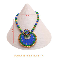 Green, Blue & Gold Colour Combinated Grand Chain Set & Stud Earring - Terramart Jewellery