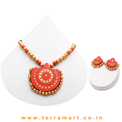 Orange & Gold Colour Combinated Grand Chain Set & Stud Earring