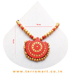 Orange & Gold Colour Combinated Grand Chain Set & Stud Earring - Terramart Jewellery
