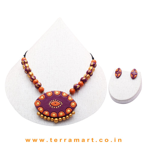 Shiny Violet, Orange & Gold Colour Combinated Grand Chain Set & Stud Earring - Terramart Jewellery