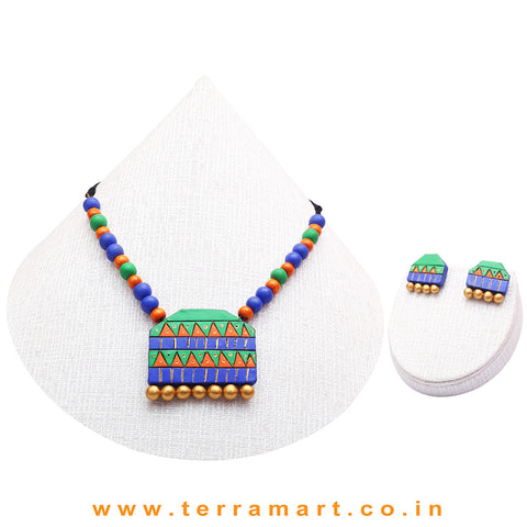 Green, Blue, Orange & Gold Colour Combinated Grand Chain Set & Stud Earring