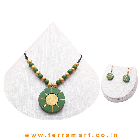 Good-looking Sap Green & Gold Colour Terracotta Chain With Earrings - Terramart Jewellery
