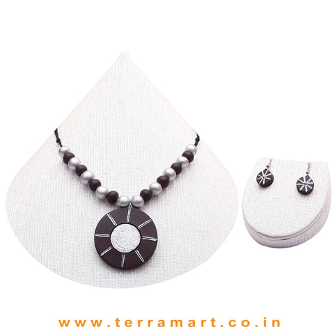 Good-looking Brown & Silver Colour Terracotta Chain With Earrings - Terramart Jewelery