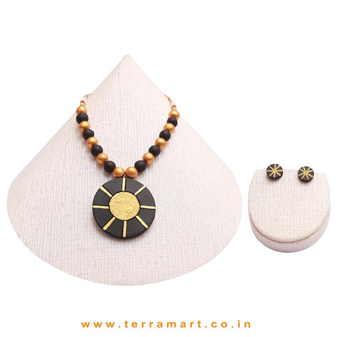 Good-looking Black & Gold Colour Handmade Terracotta Chain With Earrings