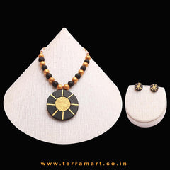 Good-looking Black & Gold Colour Handmade Terracotta Chain With Earrings - Terramart Jewellery