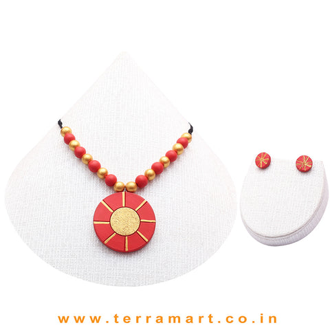 Good-looking Red & Gold Colour Handmade Terracotta Chain With Earrings - Terramart Jewellery