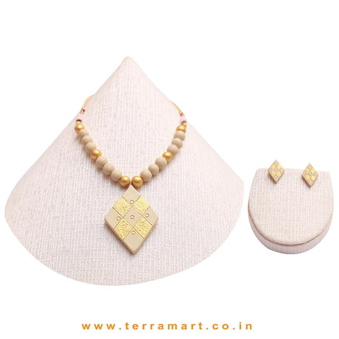 Good-looking Sandal & Gold Colour Handmade Terracotta Chain Set - Terramart Jewellery
