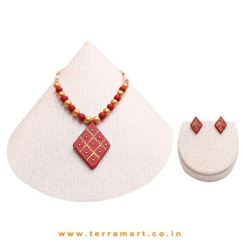Creatively Painted Maroon & Gold Colour Handmade Terracotta Chain Set